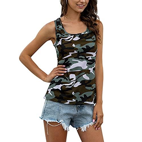 FrüHling Und Sommer Damen Casual Fashion Rundhals Camouflage Print Slim Sling Racer Weste äRmelloses Top Damen Top