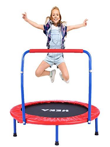HEKA Trampolin Kinder, Mini-Trampolin 92 cm für Drinnen,Klappbar Fitness Kindertrampolin Indoor Outdoor, Fitness Trampolin mit Griff und Schutzhülle, mit Haltegriff Belastung Bis 75kg