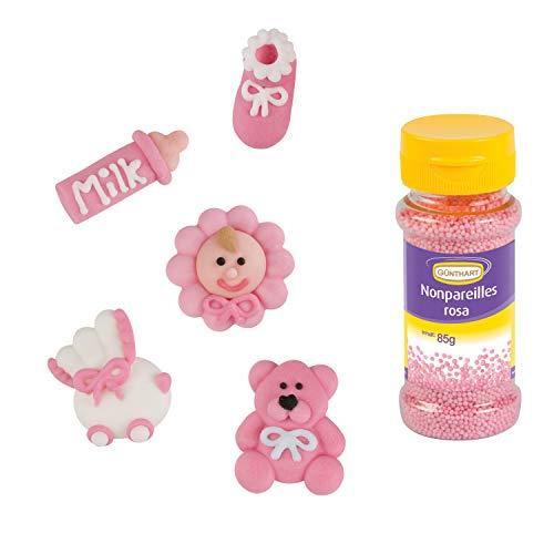 Günthart 16 Zuckerfiguren für Taufe & Baby Shower mit ROSA Streudekor