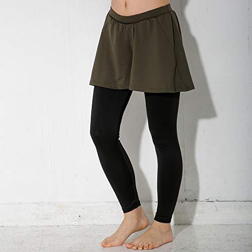 FELLOW(フェロー) 全20色柄 ラッシュガード レディース レギンス スカート付き UPF50+ 女性用 S〜3Lサイズ ラッシュレギンス 紫外線98%カット (カーキ, M)