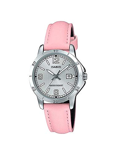 Casio LTP-V004L-4B Women's Pink Leather Band Silver Dial Date Analog Dress Watch