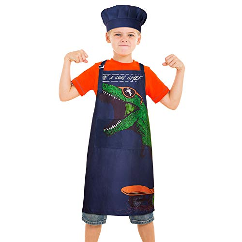 MHJY Kids Apron Chef Hat Set for Boys Dinosaur Aprons with Adjustable Strap 2 Pockets,Child Apron for Cooking Baking,Dark Blue,Large (8-12 Years)