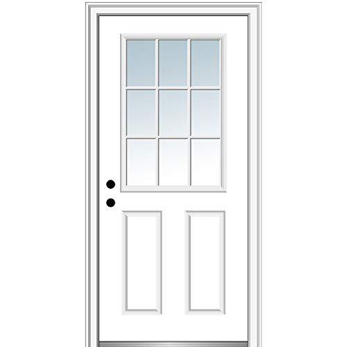 """National Door Company Z000306L Fiberglass Smooth Primed, Left Hand In-swing, Prehung Front Door, 9 Lite 2-Panel, Clear Glass, 30"""" x 80"""""""