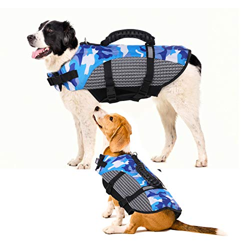 Camo Dog Life Jacket Pet Safety Vest Coat, Rescue Handle Reflective Adjustable Puppy Lifesaver Preserver, Ripstop Safety Swimsuit for Small to Large Dog in Pool Beach Lake Kayak Boat Swimming Surfing