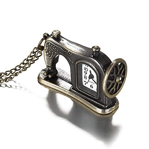 ZHAOJ Reloj de Bolsillo Retro Antiguo de aleación de Bronce, diseño de máquina de Coser, Reloj de Bolsillo con Cadena de Collar