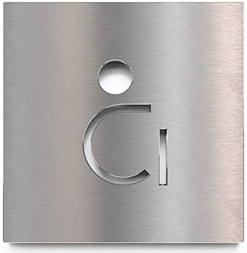 Edelstahl WC-Schild – selbstklebend & pflegeleicht – Design Toiletten-Schild – Rollstuhl-Fahrer Piktogramm – B.05.E