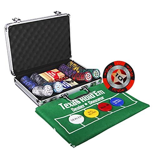 Set de póker Juego de póquer con 100/200 Chips Láser Aluminio 5 Dados, 2 Barajas de Cartas, Maletas Color Platead