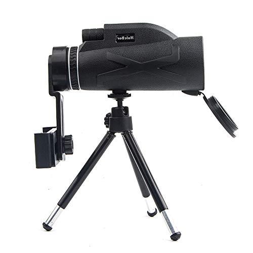 80 × 100 Monoculares de Alta Definición Alcance Mono Telescopio a Prueba de Agua Prisma óptico Visión Amplia Camping Caza Monocular con Cubierta de Goma (with phone holder)