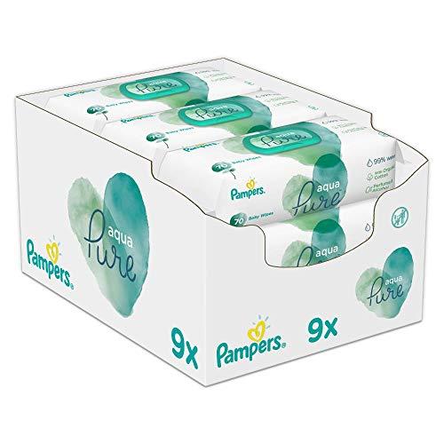 Pampers Baby Feuchttücher Aqua Pure, Mit 99% Purem Wasser, Dermatologisch Getestet, 432 Tücher (9 x 48)