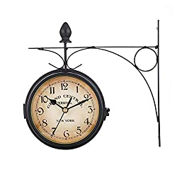 Wrought Iron Double Sided Wall Clock Battery Driven Accurate Scale Accurate Time Wall Decoration Home Living Room Coffee Shop Bookstore Timer