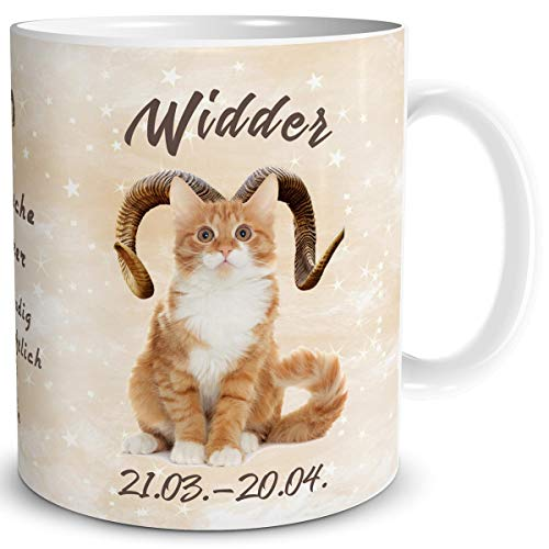 TRIOSK Tasse Katze lustig mit Spruch Sternzeichen Widder Katzenmotiv Horoskop Geschenk für Katzenliebhaber Geburtstag Frauen Freundin