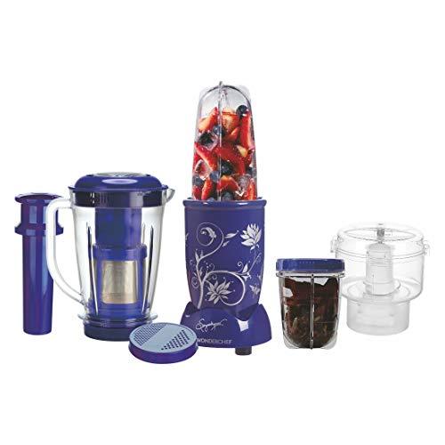 Wonderchef Nutri-Blend, 400W Complete Kitchen Machine (CKM) with 3 Jars (Mixer, Grinder, Juicer, and Chopper) - Blue, (Mixer Grinder)