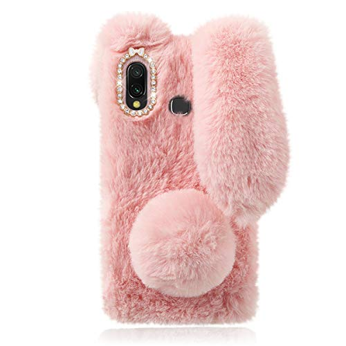 Mikikit Rosa Plüsch Hase Pelzige Handyhülle für Samsung Galaxy A20e, Niedliche Kuscheltier-Plüsch-Flauschige Hülle für Mädchengeschenk, weiche kuschelige Schutzhülle des Kaninchenfell für Galaxy A20e