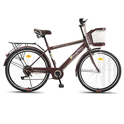 26 Pulgadas Men's Beach Cruiser Bike 6-Speed Steel Mark City Bike Classic Road Bicicleta Al Aire Libre(Color:marrón)