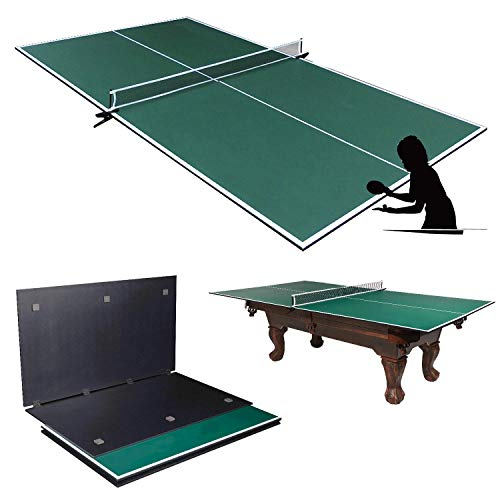 Picotech Portable Ping Pong Table Topper for Pool Table – Indoor Table Tennis Conversion Top Ping Pong Play 4 Pcs Foldable Clamp Net Post Scratch Resistant Space Save for Home Office Billiard Hockey