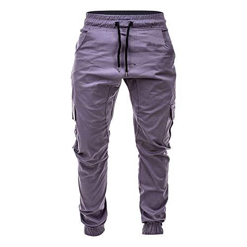Pantalones cargo para hombre, pantalones de chándal, pantalones de chándal para hombre, bolsillos laterales de color sólido, cintura con cordones, informales, pantalones de pijama gris M