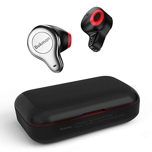 Bokman O2 Bluetooth Kopfhörer, Kabellos Bluetooth 5.0 Headset, 30 h Akkulaufzeit, Half-in-Ear, IPX5 Wasserdicht, Bluetooth 5.0(Schwarz&Rot)