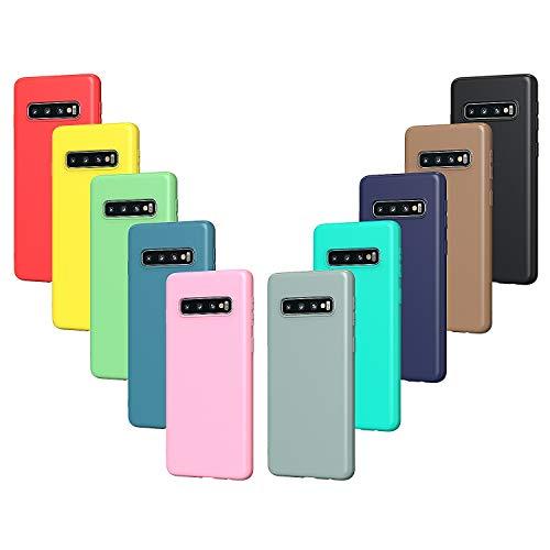 VGUARD 10x Custodia Cover per Samsung Galaxy S10+ / S10 Plus, Sottile Morbido TPU Silicone Antiurto Protettiva Case (Nero, Grigio, Blu Scuro, Blu Cielo, Blu, Verde, Rosa, Rosso, Giallo, Marrone)