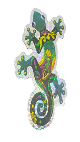 Sonoran Souvenirs Decorative Multicolor Holographic Screen Door Magnet Sliding Door Refrigerator Magnet 6.5' (2pcs/lot) (Gecko)