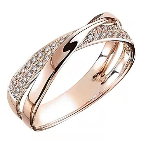 Yumoo Anillo de personalidad simple de moda anillo de aleación en forma de X popular con diseño clásico elegante anillo magnífico para mujeres niñas