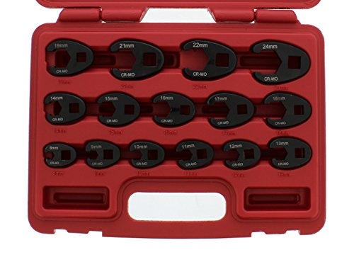 ABN Jumbo Crowfoot Flare Nut Wrench Set Metric 15-Piece Tool Kit for 3/8in and 1/2in Drive Ratchet