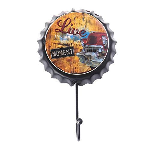 VOSAREA Wandhaken Vintage Eisen Kronkorken Form Blechschilder Oktoberfest Wand Dekor (Schwarz)