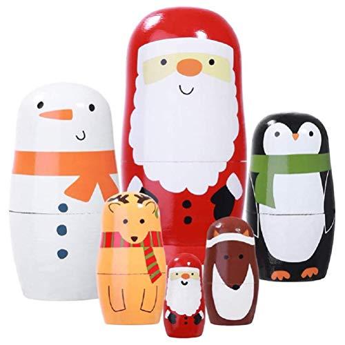 Party Urlaub Dekorationen, Weihnachten Matroschka 6PCs Dekoration Weihnachtsmann Elch Fuchs Schneemann Pinguin Bunte niedliche gut erzogene Nistpuppen