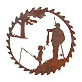 Father's Day Unique Gift Metal Art Fishing Wall Decor, Creative Metal Art Fishing Design Pendant Crafts, Embody Father's Love, Dad Daughter and Son Metal Saw Blade Art
