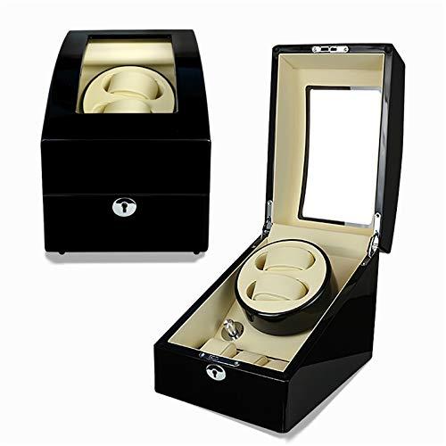 AFYH Cajas giratorias para Relojes, Automático Watch Winder Cajas para enrollador de Reloj 2 + 3, súper silencioso, Fibra de Carbono, Cuero de PU, Reloj mecánico automático
