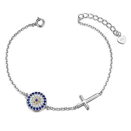ShEGRACE - Pulsera para mujer de plata 925 con circonio AAA, adorno de círculo y cruz, joya para mujer, regalo para mujer, niña, coña, novia, hermana (ajustable)