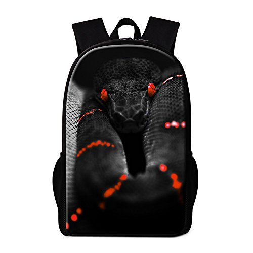 Generic Snake Printed School Backpack for Children Cool Outdoor Bags Bookbags
