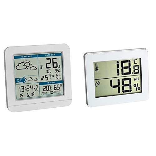 TFA Dostmann SKY Funk-Wetterstation, Wetterstation Funk mit Außensensor, Wettervorhersage & Digitales Thermo-Hygrometer, Komfortzonen-Indikator, Luftfeuchtigkeit, zur Raumklimakontrolle, weiß