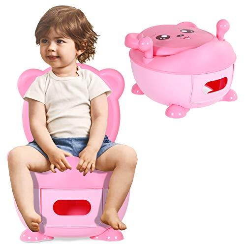 COSTWAY Kindertoilette, Kinder Töpfchen, Toilettentrainer, Kindertöpfchen, Babytopf, Toilettensitz, Topfstuhl mit Griffe zum Toilettentraining für Kleinkinder von 6 Monaten bis 5 Jahre (rosa)