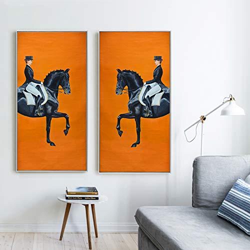 KWzEQ Klassisches modernes orangefarbenes Pferderennen-Druckplakat auf Leinwand Coole Wandkünstlerhausdekoration,Rahmenlose Malerei,30x60cmx2