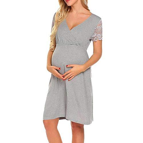 Vestidos Premama Verano SHOBDW Moda 2019 Vestidos Mujer Verano Impresión de Dibujos Animados Pijamas Mujer Tallas Grandes Ropa Premamá Cómoda Vestido de Maternidad de Fiesta(Gris,M)