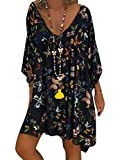 ORANDESIGNE Robe Ete Femme Robe de Plage Casual Imprimée Bohème Col V À Manches 3/4 Robe Chic Grande Taille Mini Robe Tunique A Noir 44