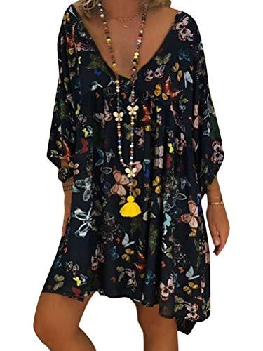 ORANDESIGNE Robe Ete Femme Robe de Plage Casual Imprimée Bohème Col V À Manches 3/4 Robe Chic Grande Taille Mini Robe Tunique A Noir 38