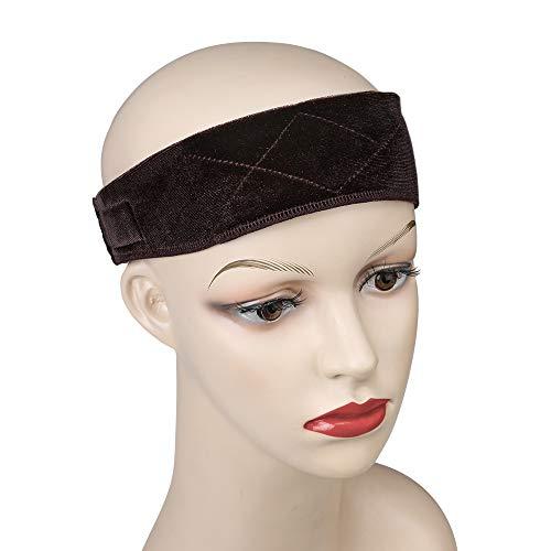 Vetelv Wig Grip Band Flexible Scarf Hair Headband Adjustable Comfort Head Hair Band, Dark Brown