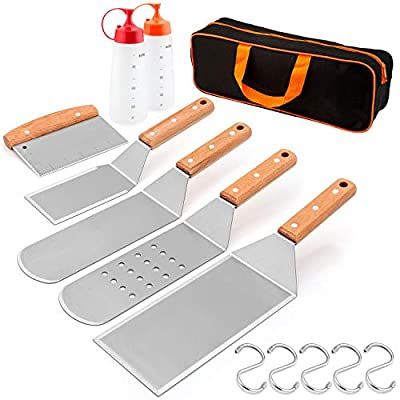 HaSteeL Griddle Accessories, Metal Spatula Set of 8 Stainless Steel with Wooden Handle, Professional Griddle Spatula Scraper Tools kit with Carrying Bag for Teppanyaki BBQ Flat Top Cooking Grilling