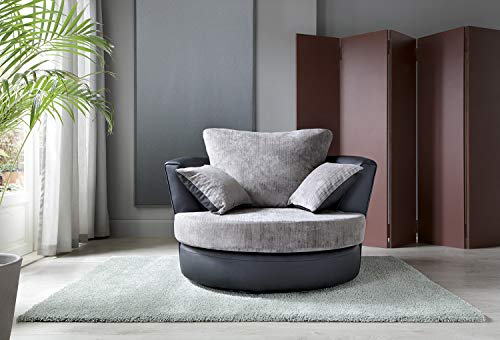 Abakus Direct Dylan Byron Swivel Chair in Black and Charcoal