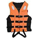 Hihey Veste de Sauvetage extérieure réglable sécurité imperméable à l'eau Flottante Veste EPE Gilet de Sauvetage avec Ceinture de sifflet pour la Natation (Orange/S)