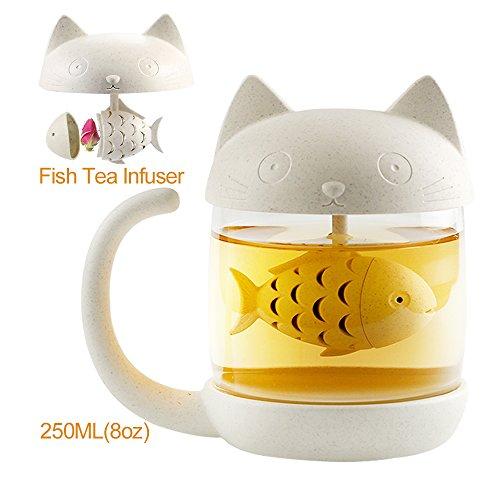 Taza de té,Taza de té de Cristal con un Filtro Que Forma de pez, Lindo de Taza de café es Mejor Regalo para cumpleaños 250ML (8oz)
