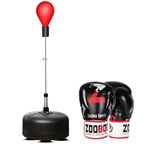 DWW Reflex boksen bal sets - ponsen tas gratis staand, trainingshandschoenen, verstelbare hoogte voor volwassenen en kind, draagbare snelheid bal buiten, stress verlichting fitness