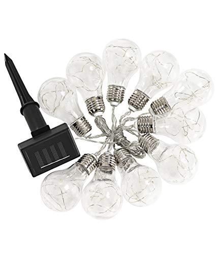 Dehner Solar Lichterkette mit 10 LED-Glühbirnen, warmweiß, Länge 330 cm