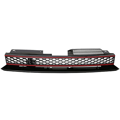 Grille Compatible With 2010-2014 VW Golf 6 MK6 | GTI Style ABS Plastic Black W & Red Trim Front Bumper Grill Hood Mesh by IKON MOTORSPORTS | 2011 2012 2013