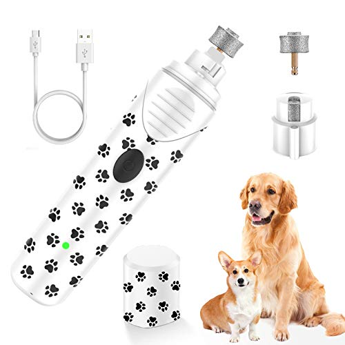 PBRO Dog Nail GrinderProfessional Two Speed Electric Pet Nail TrimmerPortable Rechargeable with LEDfor Small Medium and Large Dogs amp CatsPainless Paws Grooming amp Low Noise amp SafeBlack/White
