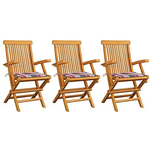 vidaXL 3X Madera de Teca Sillas de Jardín y Cojines Sillón Exterior Balcón Terraza Patio Asiento Butaca Muebles Mobiliario a Cuadros Rojos