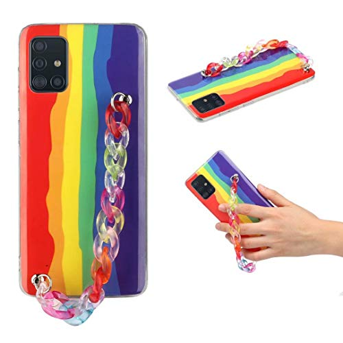 Crossbody Case for Xiaomi Redmi Note 9S/9 Pro/9 Pro Max with Adjustable Lanyard Cord Detachable Rope, Shockproof Rainbow Thin Clear Cover Soft Lanyard Flexible Gel TPU Bumper Protective Phone Case