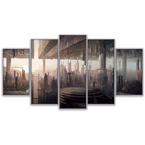DGGDVP Decoración para el hogar Carteles Sala de Estar HD Pintura Impresa 5 Paneles Espejo invertido Ciudad Paisaje Futuro Moderno Arte de la Pared Imágenes Tamaño 2 Sin Marco