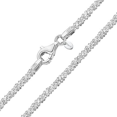 Amberta 925 Sterlingsilber Damen-Halskette - Popcorn-Kette - 2 mm Breite - Verschiedene Längen: 40 45 50 55 cm (45cm)